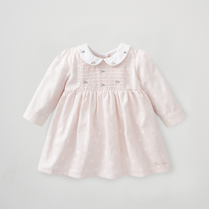 Silver Cross Embroidered Smock Dress