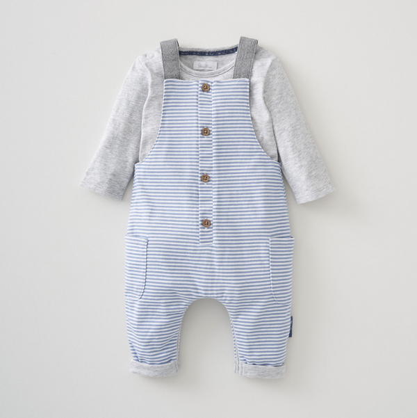 Silver Cross Stripe Dungaree & Bodysuit Set 1