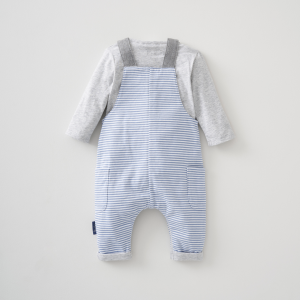 Silver Cross Stripe Dungaree & Bodysuit Set 8