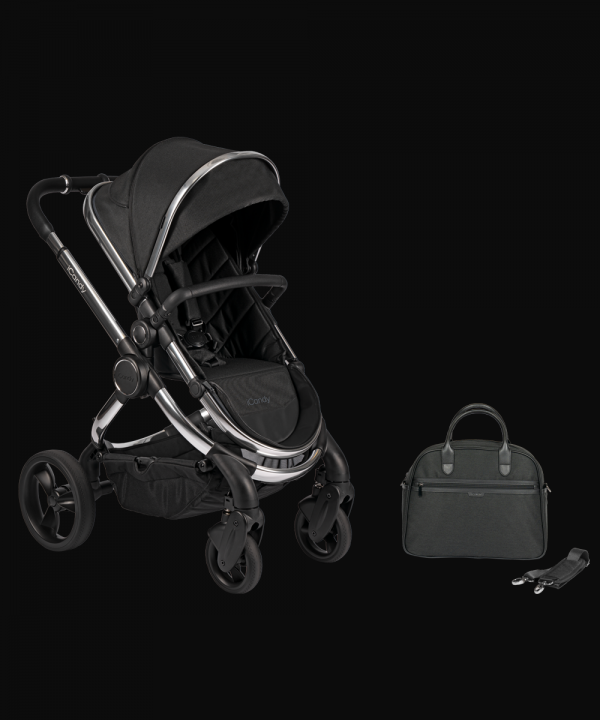 iCandy Peach Pushchair & Carrycot with Bag - Chrome Black Twill 1