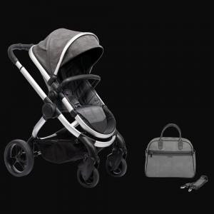iCandy Peach Pushchair & Carrycot with Bag - Satin Dark Grey Check 7