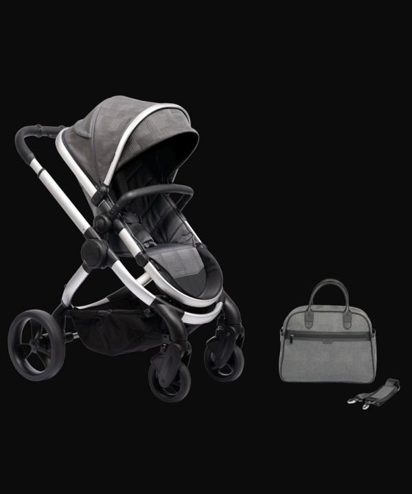iCandy Peach Pushchair & Carrycot with Bag - Satin Dark Grey Check 1