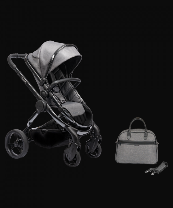 iCandy Peach Pushchair & Carrycot with Bag - Phantom Grey Twill 1