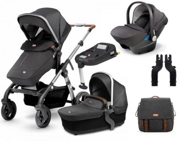 Silver Cross Wave Car Seat, ISOFIX Base & Changing Bag Bundle - Granite 1