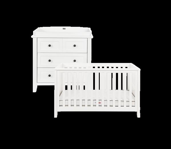 Nostalgia White Cot Bed & Dresser