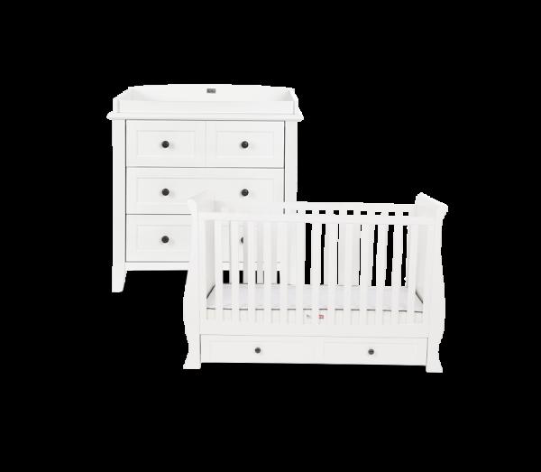 Silver Cross Nostalgia White Sleigh Cot Bed & Dresser 1