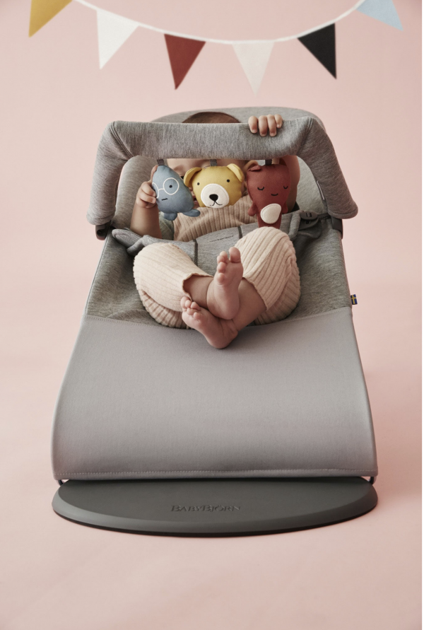 BabyBjorn Bouncer Bliss Bundle with Toy - Light Grey 3D Jersey 2