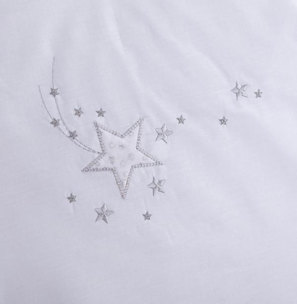 Clair De Lune Starburst Cot/ Cot Bed Quilt & Bumper - White 2