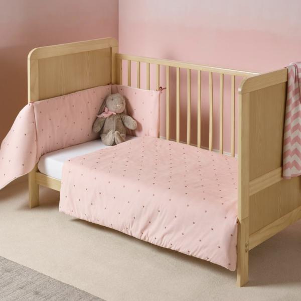 Clair De Lune Lullaby Stars Cot/ Cot Bed Quilt & Bumper - Pink 1