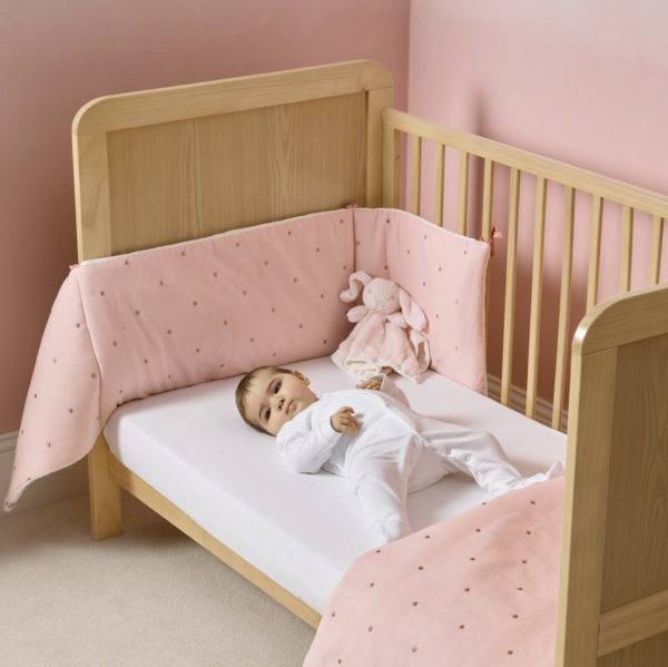 Clair De Lune Lullaby Stars Cot/ Cot Bed Quilt & Bumper - Pink 3