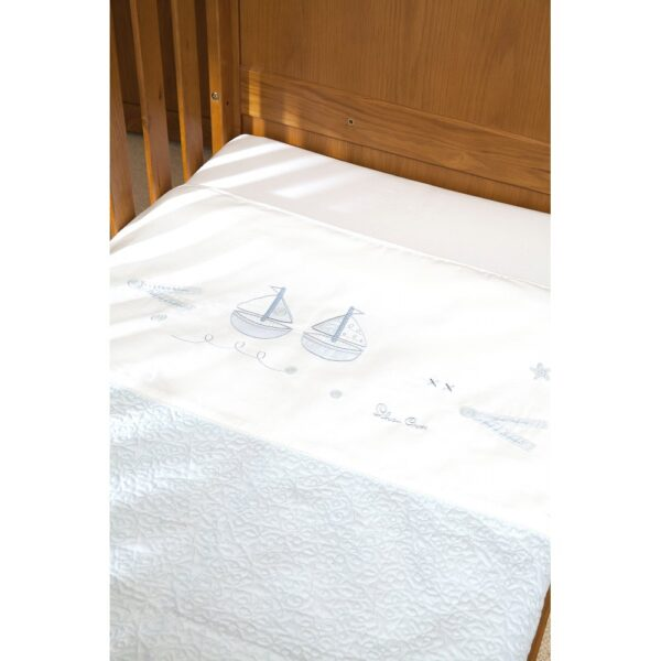 Silver Cross Coverlet - Vintage Blue 2