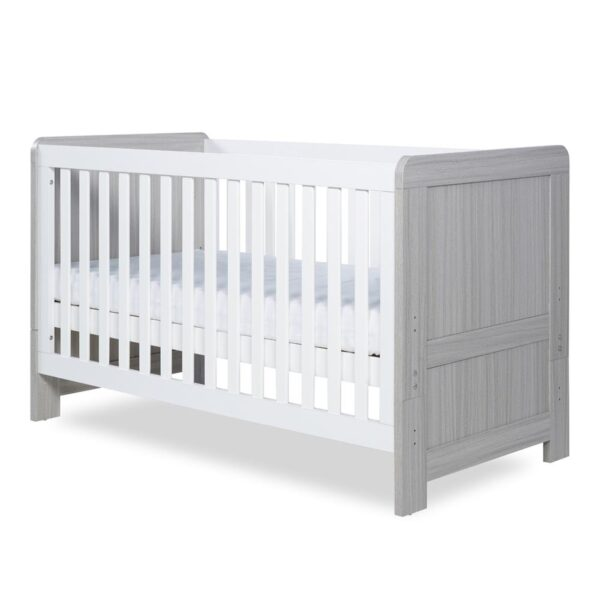 Ickle Bubba Pembrey Cot Bed - Ash Grey and White 4