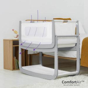 SnuzPod 4 Bedside Crib with Mattress - Dove Grey 9