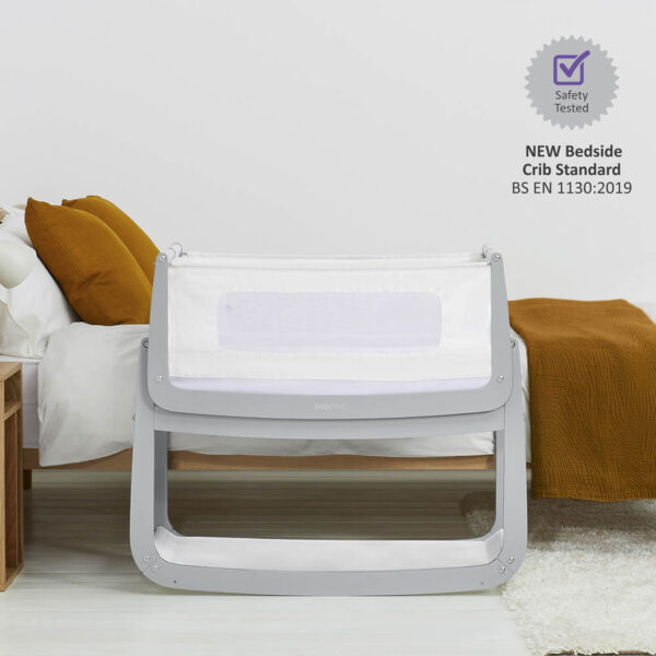 SnuzPod 4 Bedside Crib with Mattress - Dove Grey 3