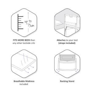 SnuzPod 4 Bedside Crib with Mattress - Dusk Grey 14
