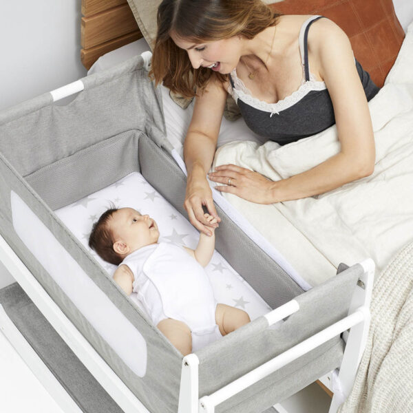 SnuzPod 4 Bedside Crib with Mattress - Dusk Grey 1
