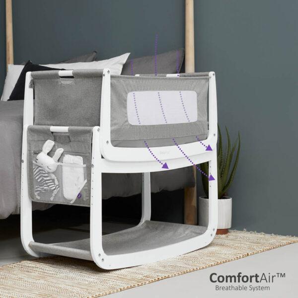 SnuzPod 4 Bedside Crib with Mattress - Dusk Grey 2