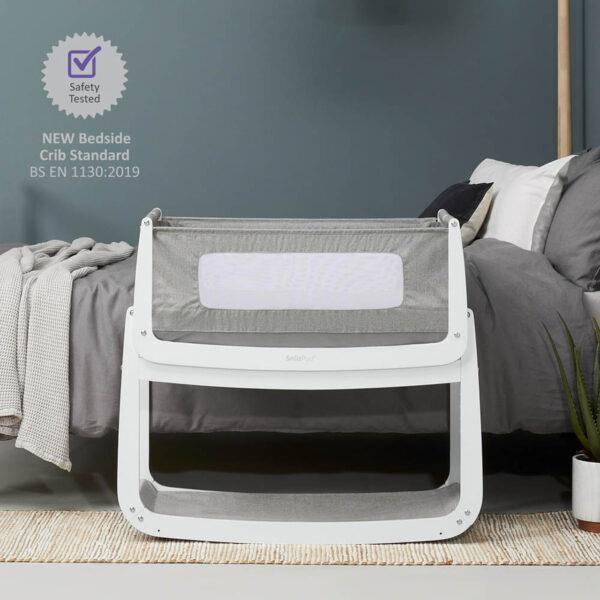 SnuzPod 4 Bedside Crib with Mattress - Dusk Grey 3