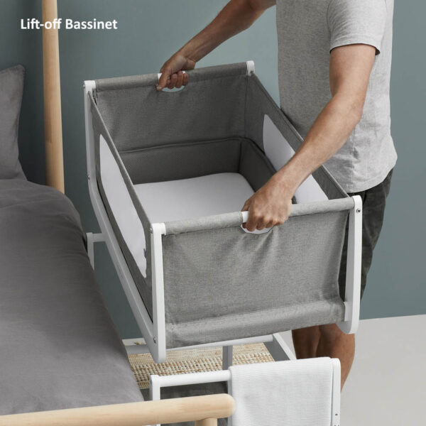 SnuzPod 4 Bedside Crib with Mattress - Dusk Grey 5