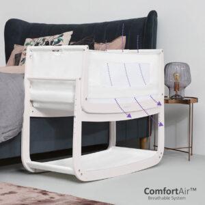 SnuzPod 4 Bedside Crib with Mattress - Rose White 9