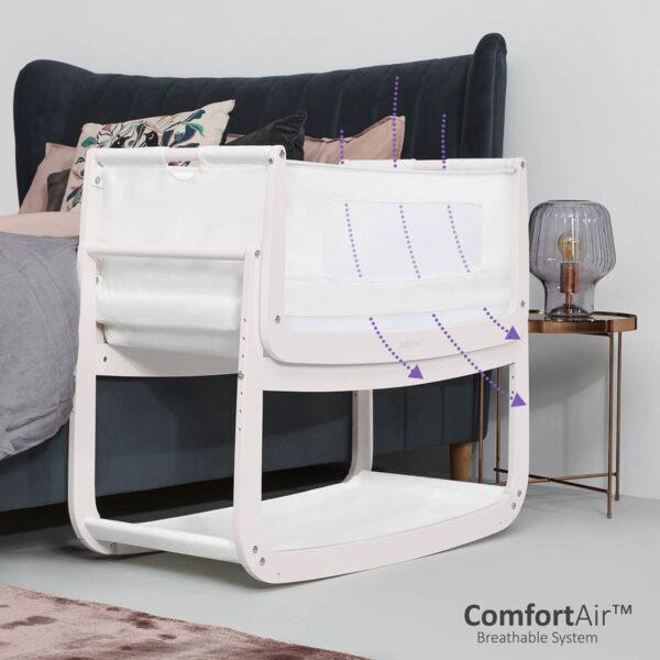 SnuzPod 4 Bedside Crib with Mattress - Rose White 2