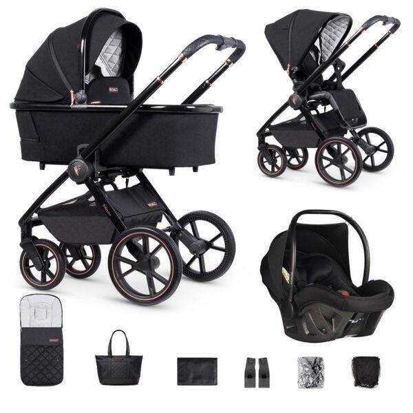 Venicci Tinum 2 Travel System inc. ULTRALITE Car Seat - Special Edition Stylish Black 5