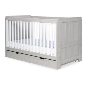 Ickle Bubba Pembrey 3 Piece Furniture Set & Under Bed Drawer - Ash Grey & White Trend 10