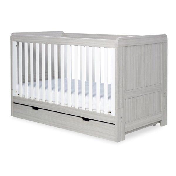 Ickle Bubba Pembrey 3 Piece Furniture Set & Under Bed Drawer - Ash Grey & White Trend 5