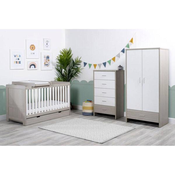 Ickle Bubba Pembrey 4 Piece Furniture Set & Under Bed Drawer - Ash Grey & White Trend 6