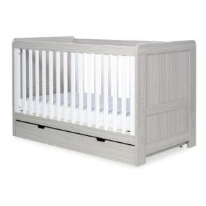 Ickle Bubba Pembrey 4 Piece Furniture Set & Under Bed Drawer - Ash Grey & White Trend 11