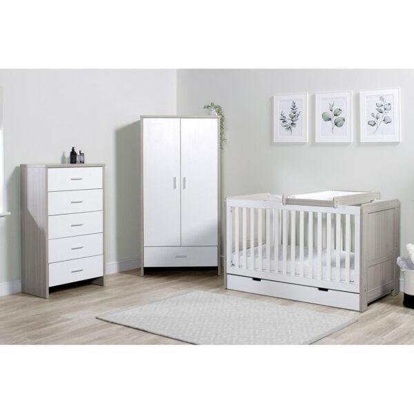 Ickle Bubba Pembrey 4 Piece Furniture Set & Under Bed Drawer - Ash Grey & White 6