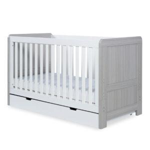Ickle Bubba Pembrey 4 Piece Furniture Set & Under Bed Drawer - Ash Grey & White 11