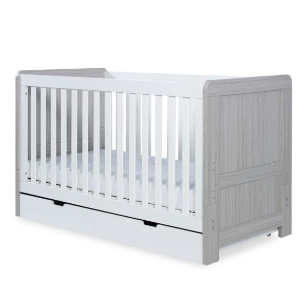 Ickle Bubba Pembrey 4 Piece Furniture Set & Under Bed Drawer - Ash Grey & White 5