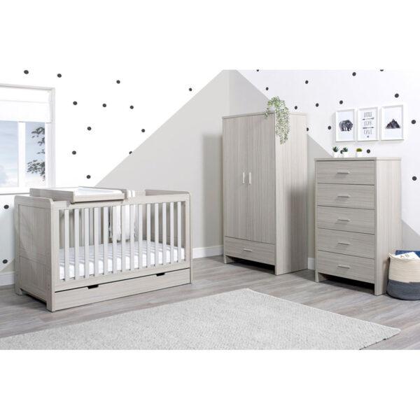 Ickle Bubba Pembrey 4 Piece Furniture Set & Under Bed Drawer - Ash Grey 6