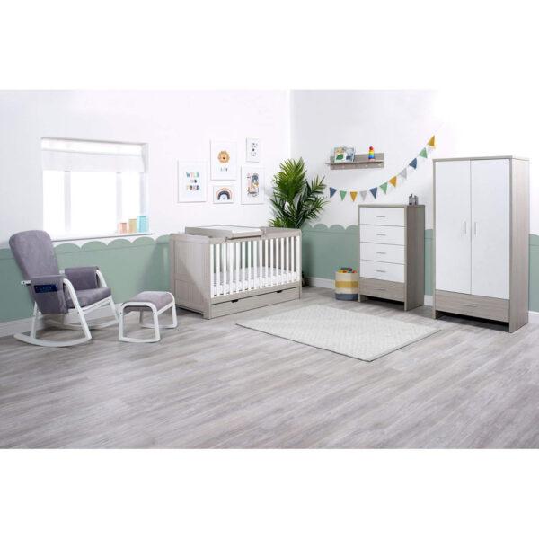 Ickle Bubba Pembrey 9 Piece Furniture Bundle - Ash Grey & White Trend 9