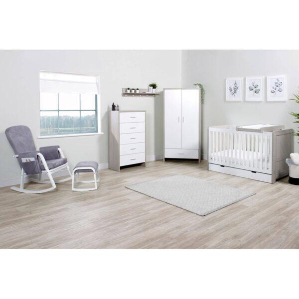 Ickle Bubba Pembrey 9 Piece Furniture Bundle - Ash Grey & White 9