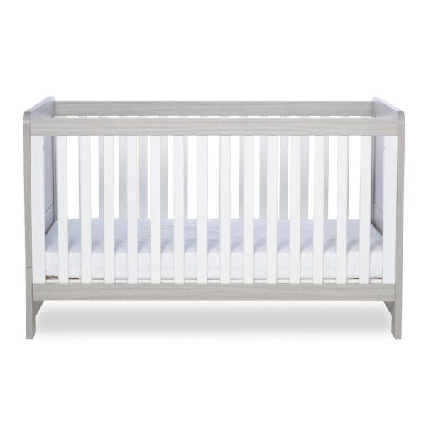 Ickle Bubba Pembrey Cot Bed & Dresser - Ash Grey & White Trend 1
