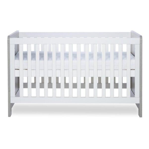 Ickle Bubba Pembrey Cot Bed & Dresser - Ash Grey & White 1