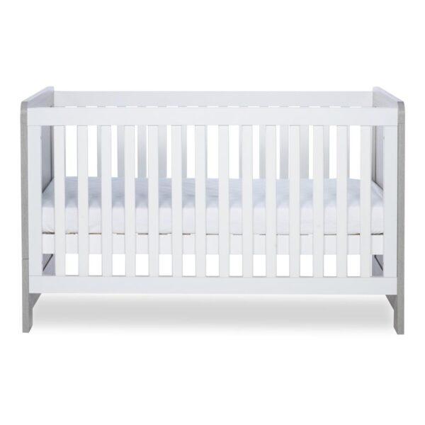 Ickle Bubba Pembrey Cot Bed & Dresser - Ash Grey & White 2