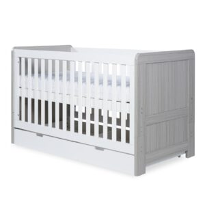 Ickle Bubba Pembrey Cot Bed & Under Bed Drawer - Ash Grey & White 16