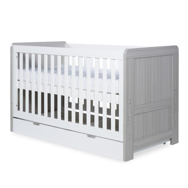 Ickle Bubba Pembrey Cot Bed & Under Bed Drawer - Ash Grey & White 6