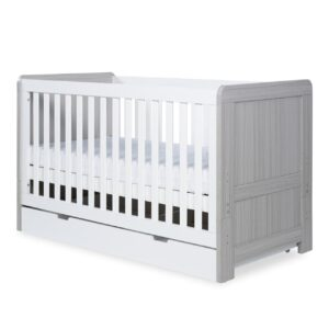 Ickle Bubba Pembrey Cot Bed & Under Bed Drawer - Ash Grey & White 18