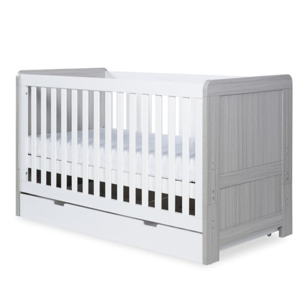 Ickle Bubba Pembrey Cot Bed & Under Bed Drawer - Ash Grey & White 8