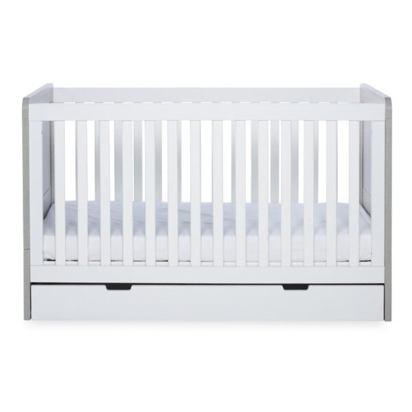 Ickle Bubba Pembrey Cot Bed & Under Bed Drawer - Ash Grey & White 3