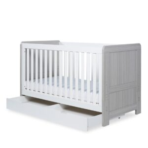 Ickle Bubba Pembrey Cot Bed & Under Bed Drawer - Ash Grey & White 20