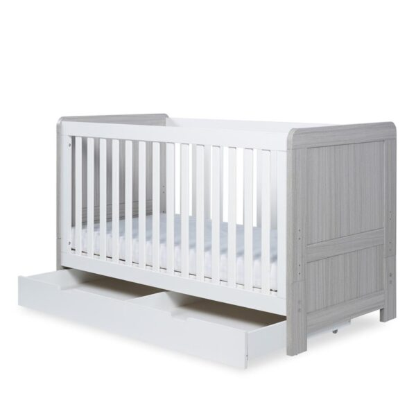 Ickle Bubba Pembrey Cot Bed & Under Bed Drawer - Ash Grey & White 10
