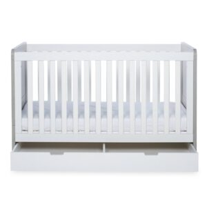 Ickle Bubba Pembrey Cot Bed & Under Bed Drawer - Ash Grey & White 12