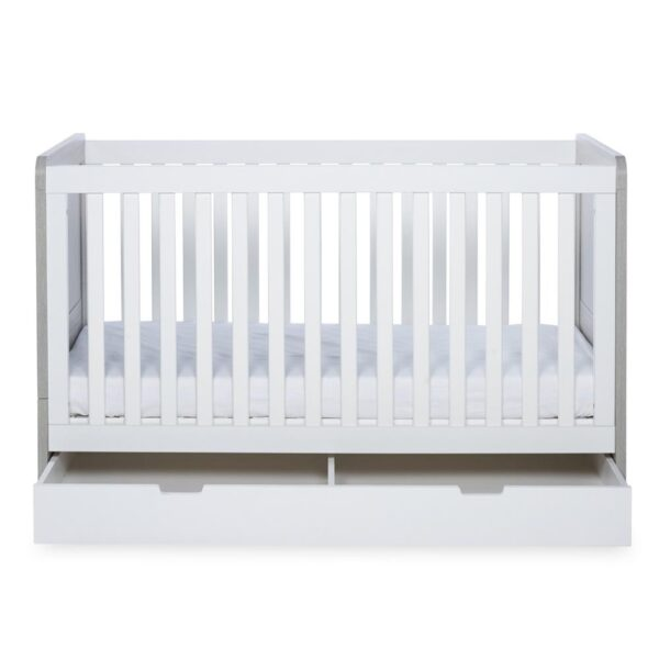 Ickle Bubba Pembrey Cot Bed & Under Bed Drawer - Ash Grey & White 2