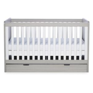 Ickle Bubba Pembrey Cot Bed, Under Drawer and Changing Unit - Ash Grey & White Trend 9