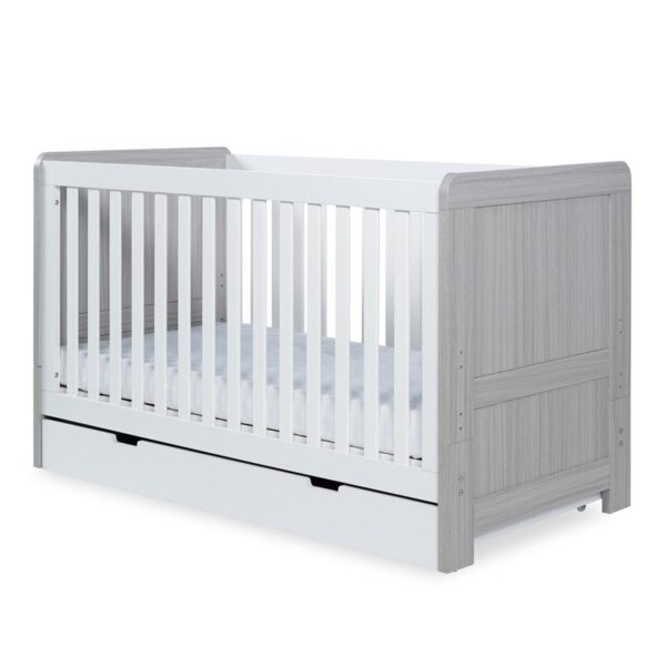 Ickle Bubba Pembrey Cot Bed, Under Drawer and Changing Unit - Ash Grey & White 7